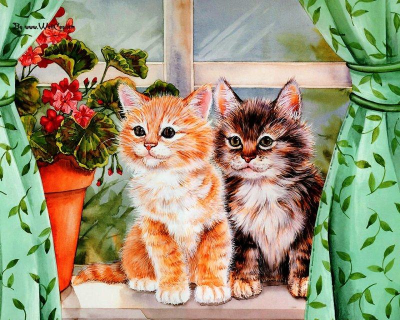 фото открытка сестре с котами скульптурой