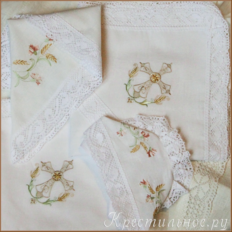 Крестильный набор для девочки вышивка