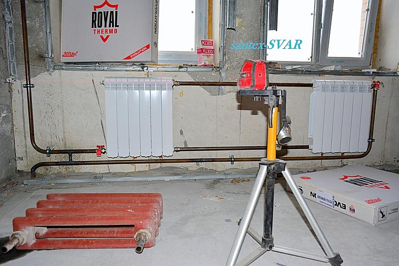 Нестандартное? подключение радиаторов сантехника, водопровод.