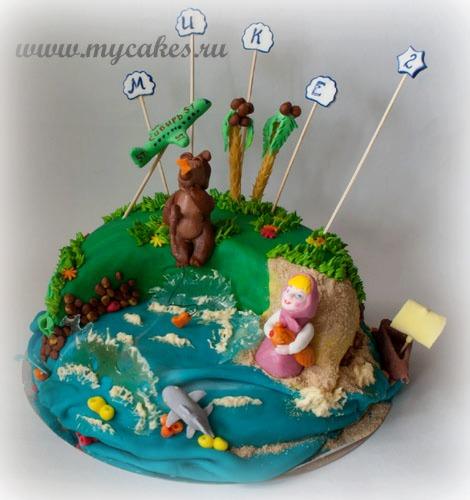 Торт Маша и Медведь на отдыхе (по мультфильму.