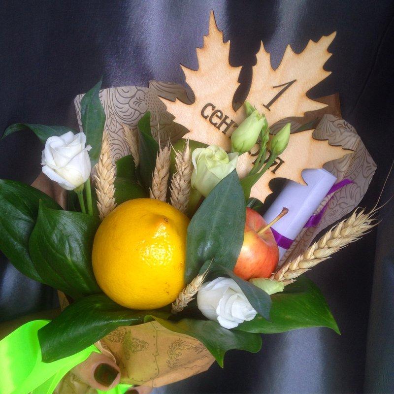 Пионовидных роз, букеты из фруктов и цветов на 1 сентября своими руками
