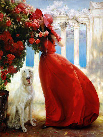 """Предпросмотр схемы вышивки  """"Дама с собачкой """".  Дама с собачкой, дама, девушка, сад, в саду, собака."""